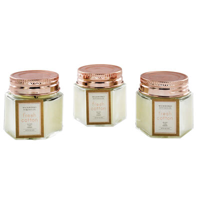 Set of 3 Fresh Cotton Scented Rose Gold Hexagon Candles image number 2