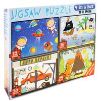 Assorted Design 4-in-1 Jigsaw Puzzle Set