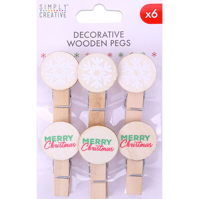 Decorative Wooden Pegs - Pack of 6 image number 1