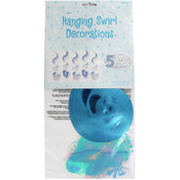Blue Boy Baby Shower Hanging Swirl Decorations