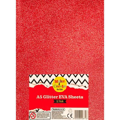A5 Glitter EVA Sheets - 12 Pack image number 1