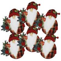Wooden Santa Tartan Toppers Pack of 6
