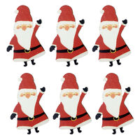 Wooden Santa Embellishments: Pack of 6