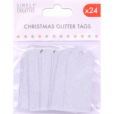 Silver Christmas Glitter Gift Tags - 24 Pack image number 1