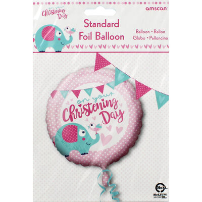 18 Inch Pink Christening Day Foil Helium Balloon image number 2