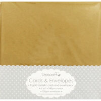 8 Gold Metallic Cards And Envelopes - 6 x 6 Inches