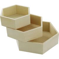 Wooden Hexagon Trays: Set of 3