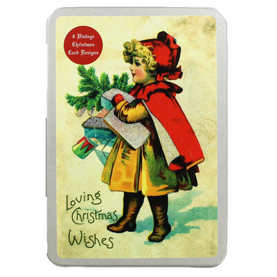 8 Vintage Christmas Cards in Tin - Young Girl image number 1