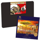 Savanna Pool 1000 Piece Jigsaw Puzzle with Portapuzzle Board Bundle image number 1