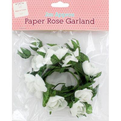 White Paper Rose Garland - 2m image number 1