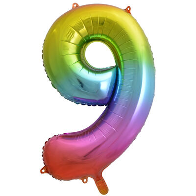 34 Inch Rainbow Number 9 Helium Balloon image number 1