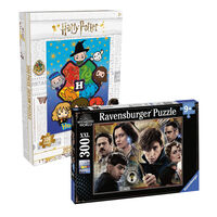 Fantastic Beasts and Harry Potter Houses 300 Piece Jigsaw Puzzle Bundle