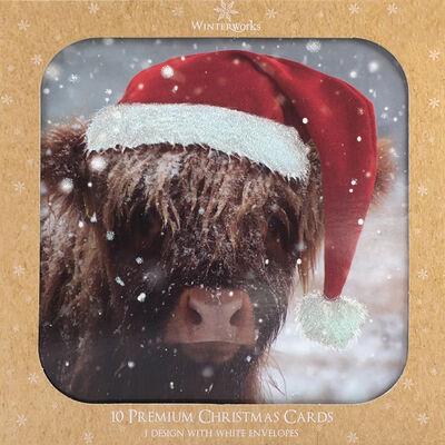 Highland Cow Christmas Cards: Pack Of 10 image number 1