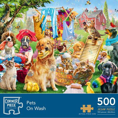 Pets On Wash 500 Piece Jigsaw Puzzle image number 1
