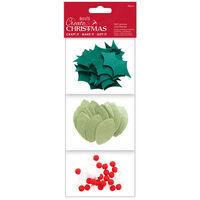 Felt Leaves & Berry Embellishments: Pack of 80