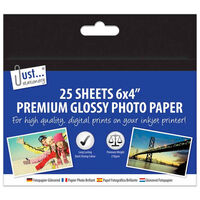 A6 Premium Glossy Photo Paper: 25 Sheets