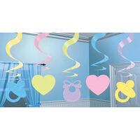 Pastel Baby Shower Hanging Swirl Decorations