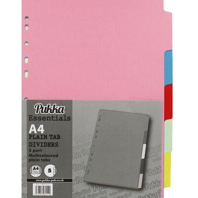 A4 Pukka Essentials Plain Multi-colour Tab Dividers - 5 Pack image number 1
