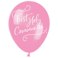 Pink First Holy Communion Latex Balloons - 6 Pack