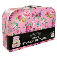Vintage Floral Storage Suitcases: Set of 3