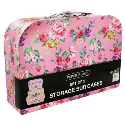 Vintage Floral Storage Suitcases: Set of 3 image number 2