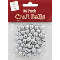 White and Silver Jingle Bells: Pack of 50