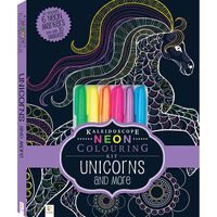 Kaleidoscope Colouring Kit: Neon Unicorns and More