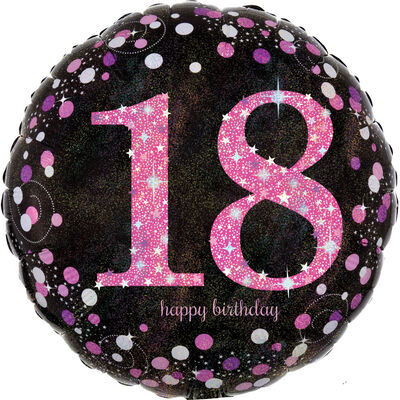18 Inch Pink Number 18 Helium Balloon image number 1