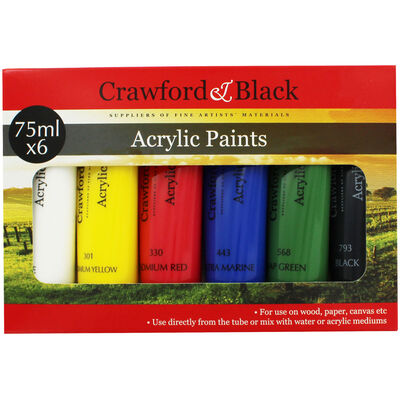 Crawford And Black Acrylic Paints - Set Of 6 image number 1
