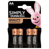 Duracell Simply AA Batteries: Pack of 4