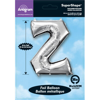 34 Inch Silver Letter Z Helium Balloon image number 2