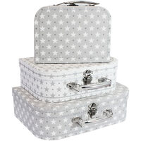 Grey Stars Storage Suitcases - Set Of 3