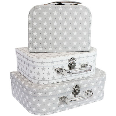 Grey Stars Storage Suitcases - Set Of 3 image number 1