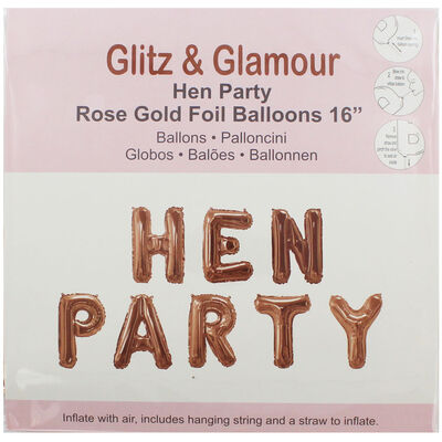 Rose Gold Foil Hen Party 16 Inch Balloons image number 1