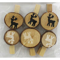 Wooden Christmas Pegs - 6 Pack