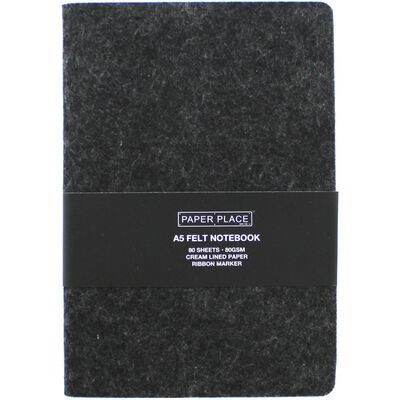 A5 Felt Cover Lined Page Notebook - Assorted image number 1