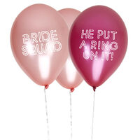 8 Pink Hen Party Balloons - Bride Squad