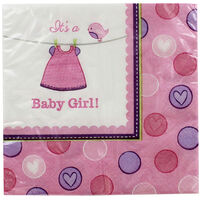 Its a Girl Baby Shower Napkins - 16 Pack