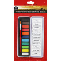 11 Watercolour Tablets with Brush