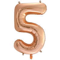 34 Inch Rose Gold Number 5 Helium Balloon