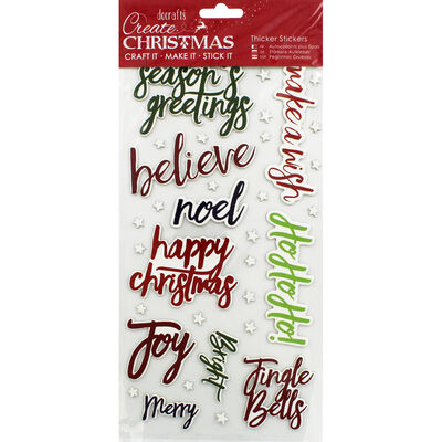 Christmas Words Thick Christmas Stickers image number 1
