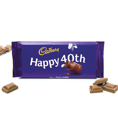 Cadbury Dairy Milk Chocolate Bar 110g - Happy 40th image number 2