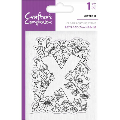 Crafters Companion Clear Acrylic Stamp - Floral Letter X image number 1
