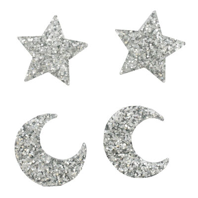 Glitter Star and Moon Embellishments - 12 Pack image number 4