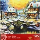 Stone Bridge To The Winter Estate 1000 Piece Jigsaw Puzzle image number 1