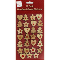 Wooden Advent Stickers - 27 Pack