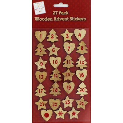 Wooden Advent Stickers - 27 Pack image number 1
