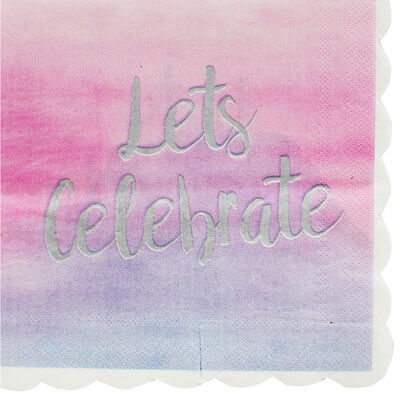 Lets Celebrate Ombre Party Napkins: Pack of 15 image number 1