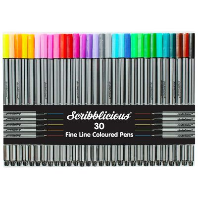 A to Z Beautiful Letters Colouring Book & Scribblicious Fine Line Coloured Pens Bundle image number 2