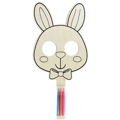 Colour Your Own Wooden Bunny Mask - Bundle of 24 image number 1